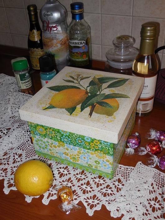 """Корзины, коробы ручной работы. Ярмарка Мастеров - ручная работа. Купить """"Лимонный фреш"""" короб. Handmade. Желтый, зеленый"""