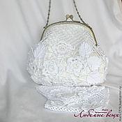 Свадебный салон ручной работы. Ярмарка Мастеров - ручная работа Маленькая белая вязаная сумочка для невесты, свадебная, вечерняя. Handmade.