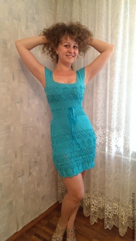 """Платья ручной работы. Ярмарка Мастеров - ручная работа. Купить Платье """"Лазурь"""". Handmade. Бирюзовый, платье коктейльное"""