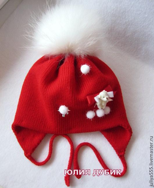 Шапки и шарфы ручной работы. Ярмарка Мастеров - ручная работа. Купить Зимняя мериносовая шапочка для девочки Нарядная Зима.... Handmade.