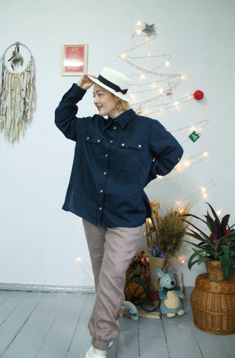 Льняная рубашка Синева, Рубашки, Кобрин,  Фото №1