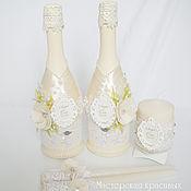 Свадебный салон ручной работы. Ярмарка Мастеров - ручная работа Свадебное оформление бутылок ``Очарование``. Handmade.
