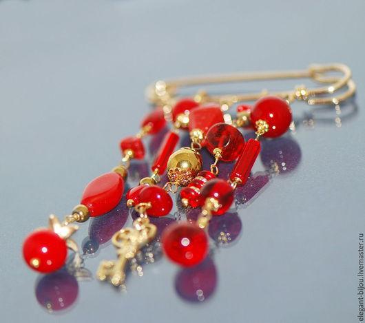 брошь красная; красная брошь; красная брошка; брошка красная; брошь-булавка; брошь булавка красная; красная брошь булавка; подарок девушке; подарок женщине