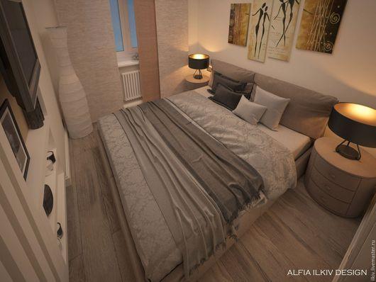 Дизайн интерьеров ручной работы. Ярмарка Мастеров - ручная работа. Купить Спальня на 8 кв. метрах. Handmade. Бежевый, спальня