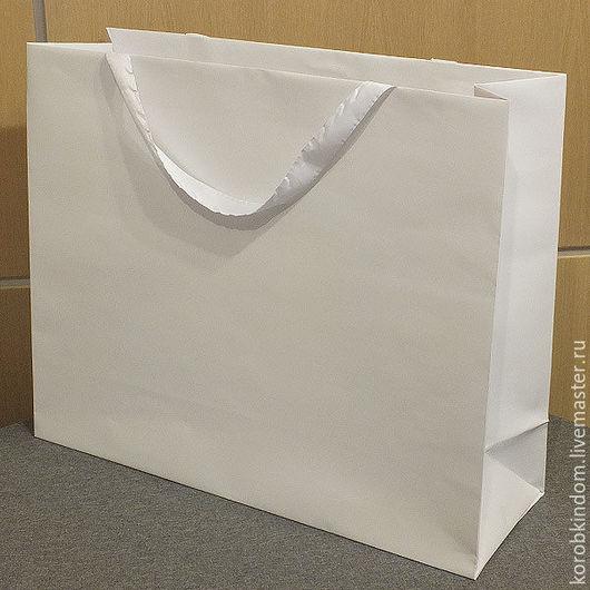 Упаковка ручной работы. Ярмарка Мастеров - ручная работа. Купить Пакет 55х45х18 белый с ручками из ленты. Handmade. Пакет