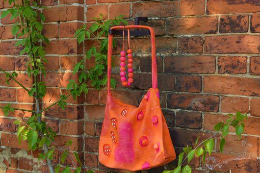 Женские сумки ручной работы. Ярмарка Мастеров - ручная работа. Купить Сумка валяная, женская. Handmade. Оранжевый, весна