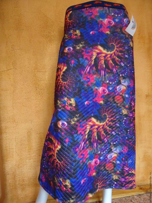 Юбки ручной работы. Ярмарка Мастеров - ручная работа. Купить Тёплая зимняя длинная юбка из стёганого трикотажа Космос. Handmade.