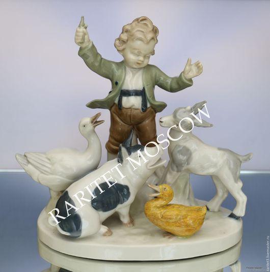 Винтажные предметы интерьера. Ярмарка Мастеров - ручная работа. Купить Дирижер мальчик утка свинья птица Германия. Handmade. Статуэтка