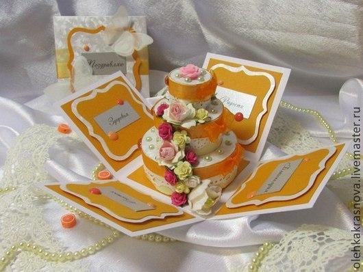 """Конверты для денег ручной работы. Ярмарка Мастеров - ручная работа. Купить Magic Box """"Свадебный"""". Handmade. Оранжевый, свадебный подарок"""