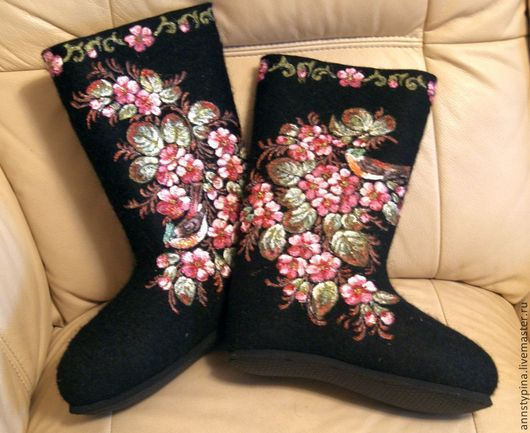 Обувь ручной работы. Ярмарка Мастеров - ручная работа. Купить райский  сад на черном. Handmade. Черный, валенки, дизайнерские валенки