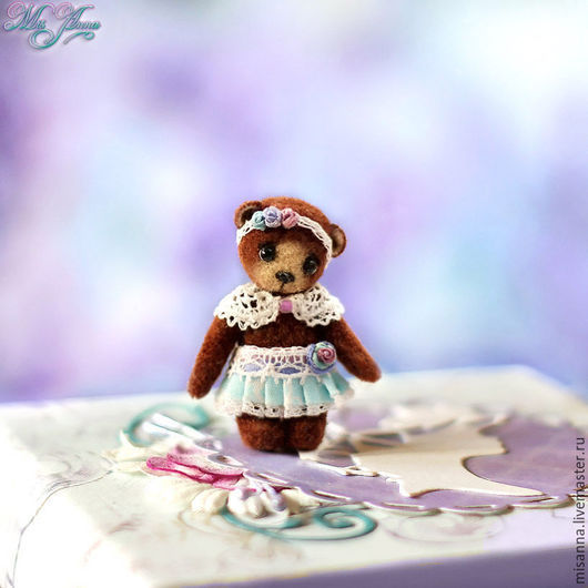 """Миниатюра ручной работы. Ярмарка Мастеров - ручная работа. Купить Микро-мишка """"Милана"""" (3,6см). Handmade. Сиреневый, розовый"""