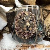 handmade. Livemaster - original item Lion Whiskey glass with pomegranate. Handmade.