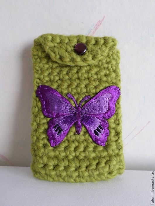 Для телефонов ручной работы. Ярмарка Мастеров - ручная работа. Купить Чехол для телефона вязаный Бабочка. Handmade. Зеленый