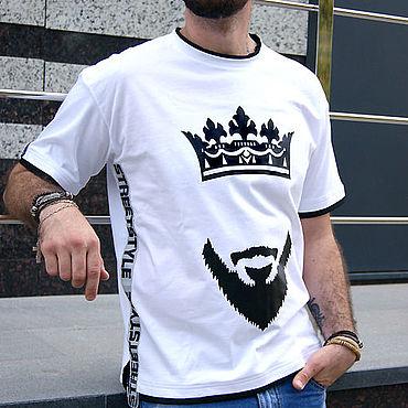 Clothing handmade. Livemaster - original item White men`s t-shirt Beard and crown, clothing hip-hop, rap t-shirt. Handmade.