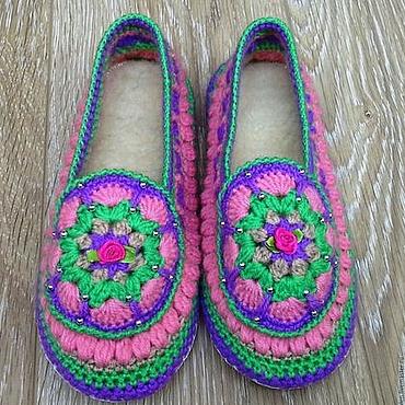 Обувь ручной работы. Ярмарка Мастеров - ручная работа Тапочки вязаные Лето на кожаной подошве. Handmade.