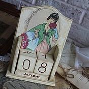 """Канцелярские товары ручной работы. Ярмарка Мастеров - ручная работа Вечный календарь """"Дама"""". Handmade."""