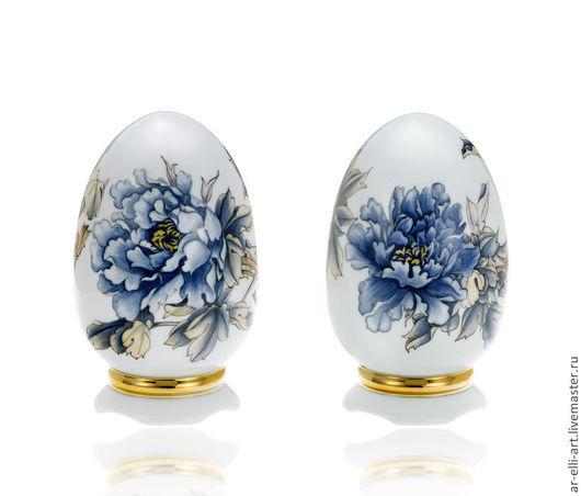 """Статуэтки ручной работы. Ярмарка Мастеров - ручная работа. Купить Фарфоровое яйцо """"Синий пион"""". Handmade. Тёмно-синий, фарфор"""