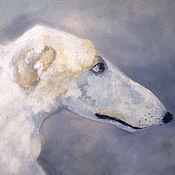 Pictures handmade. Livemaster - original item Oil painting 20h30 cm Russian Greyhound. Handmade.