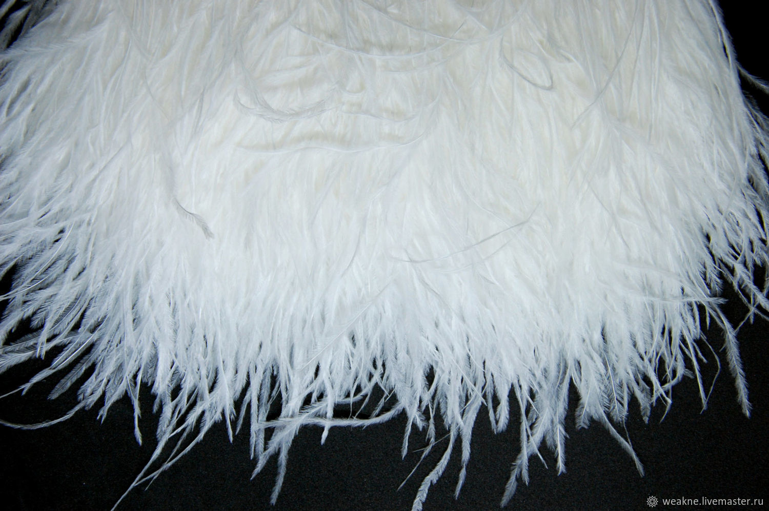 Trim of ostrich feathers 10-15 cm white and milk, braid, Moscow,  Фото №1