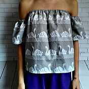 Одежда ручной работы. Ярмарка Мастеров - ручная работа Лебёдушка Топ из хлопка. Handmade.