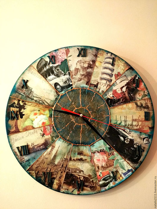 """Часы для дома ручной работы. Ярмарка Мастеров - ручная работа. Купить Часы настенные """"Итальянская мозаика"""". Handmade. Комбинированный"""