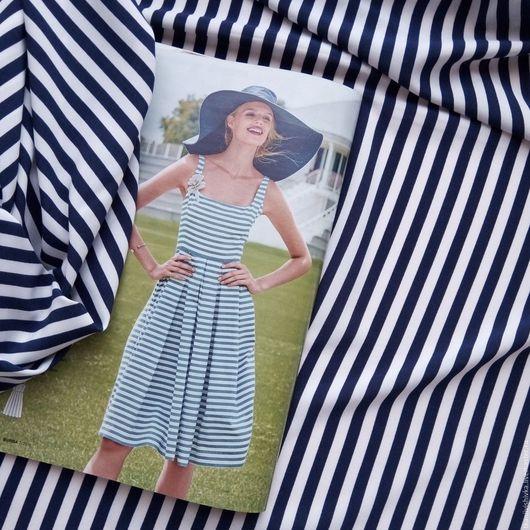 """Шитье ручной работы. Ярмарка Мастеров - ручная работа. Купить Ткань софт """"Тельняшка"""". Handmade. Белый, ткань на платье, полиэстер"""
