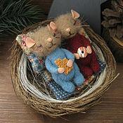 Куклы и игрушки ручной работы. Ярмарка Мастеров - ручная работа Уютное гнездышко. Мышки.Миниатюра. Handmade.