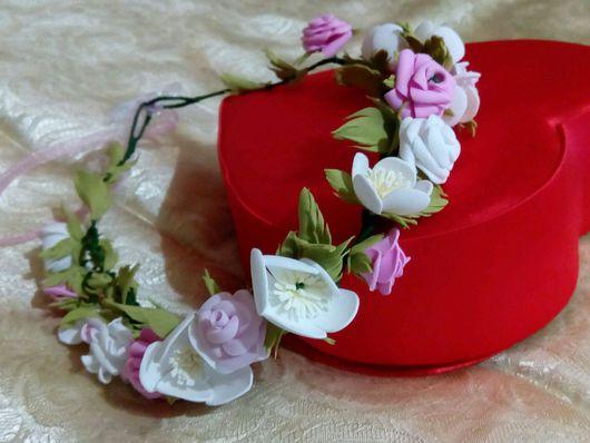 """Диадемы, обручи ручной работы. Ярмарка Мастеров - ручная работа. Купить Венок на голову плетеный цветочный """"Сады нежности"""". Handmade."""
