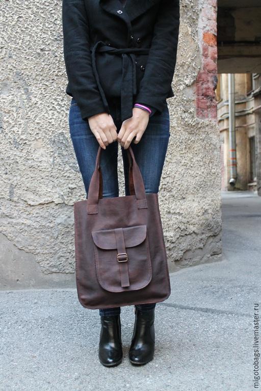 Женские сумки ручной работы. Ярмарка Мастеров - ручная работа. Купить сумка ручной работы из натуральной кожи с большим карманом. Handmade.