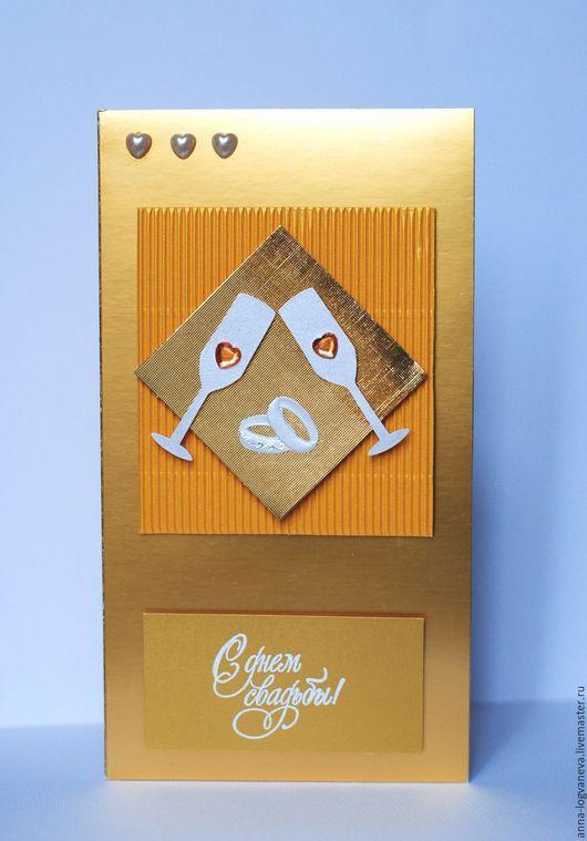 Свадебные открытки ручной работы. Ярмарка Мастеров - ручная работа. Купить Свадебная открытка. Handmade. Золотой, свадебная открытка, открытка