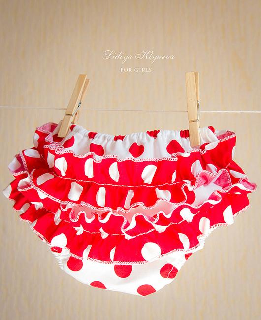 Для новорожденных, ручной работы. Ярмарка Мастеров - ручная работа. Купить Трусики на памперс - блумеры красный и белый горошек. Handmade.