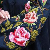 """Одежда handmade. Livemaster - original item Вышитое темно-синее платье """"Авангардные розы"""" ручная вышивка. Handmade."""