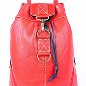 Сумки и аксессуары handmade. Livemaster - original item Backpack leather red Skippy. Handmade.
