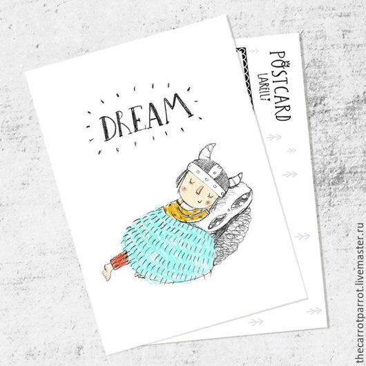 Открытки на все случаи жизни ручной работы. Ярмарка Мастеров - ручная работа. Купить Почтовая открытка «Dream». Handmade. Белый, викинги