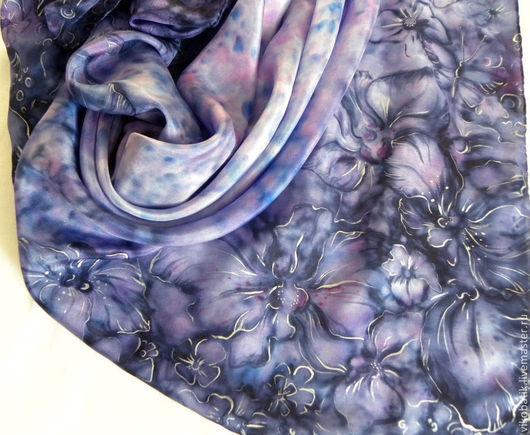 Шали, палантины ручной работы. Ярмарка Мастеров - ручная работа. Купить Платок шелковый батик Аметистовые Орхидеи ручная роспись фиолетовый. Handmade.