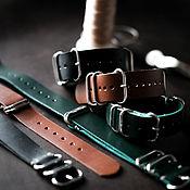 Украшения handmade. Livemaster - original item Men`s leather watchband (NATO strap) in three colors. Handmade.