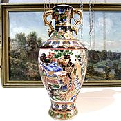 Винтаж handmade. Livemaster - original item VASE JAPAN porcelain hand painted 23,5 cm. Handmade.