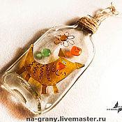 """Картины ручной работы. Ярмарка Мастеров - ручная работа Коллаж на бутылке """"Кот"""". Handmade."""