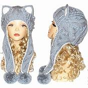 Аксессуары ручной работы. Ярмарка Мастеров - ручная работа Шапка кошка с ушками Кошка, серебряная, вязаная женская. Handmade.