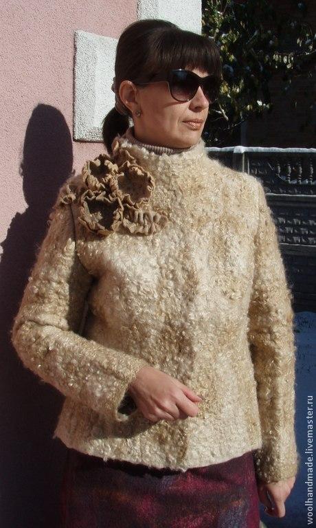 Верхняя одежда ручной работы. Ярмарка Мастеров - ручная работа. Купить Куртка из шерсти Благородный беж. Handmade. Бежевый