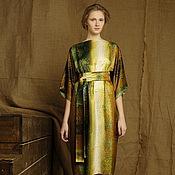 Одежда handmade. Livemaster - original item Dress silk satin summer bog print brown mustard. Handmade.