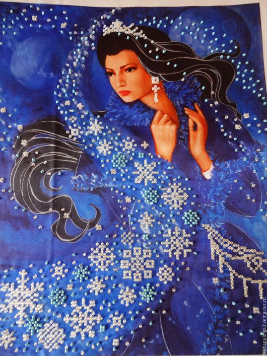"""Фантазийные сюжеты ручной работы. Ярмарка Мастеров - ручная работа. Купить Картина """"Зимняя ночь"""" - вышивка бисером. Handmade. Картина"""