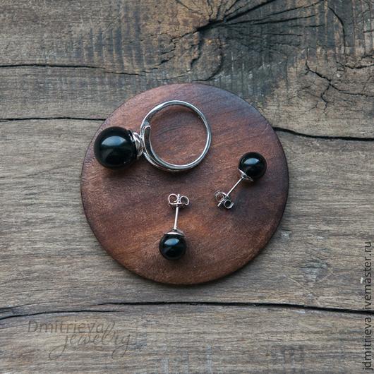 Комплекты украшений ручной работы. Ярмарка Мастеров - ручная работа. Купить Комплект кольцо + гвоздики с черным агатом. Handmade.