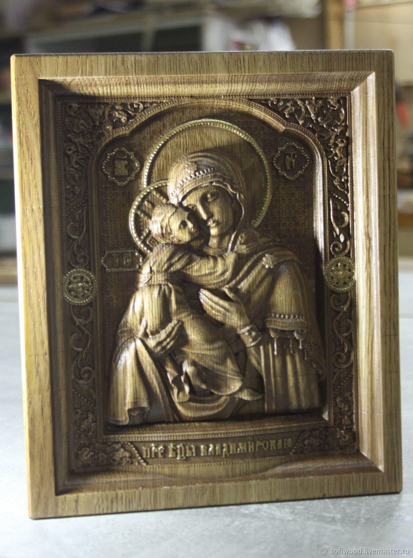 Резная икона Владимирской Богоматерь, Иконы, Орехово-Зуево,  Фото №1