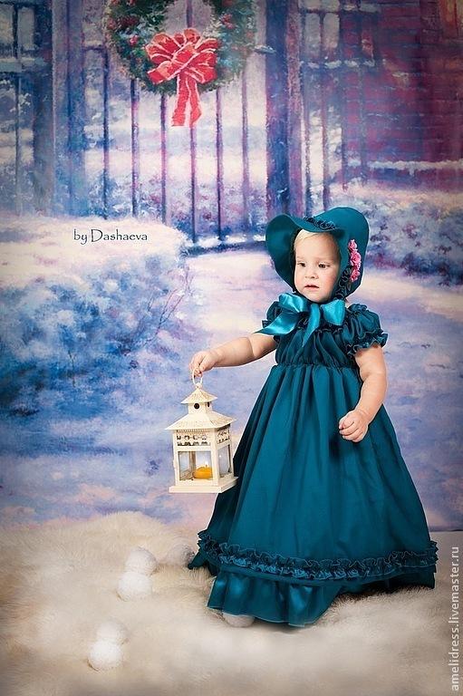 Одежда для девочек, ручной работы. Ярмарка Мастеров - ручная работа. Купить нарядное платье. Handmade. Тёмно-бирюзовый, однотонный