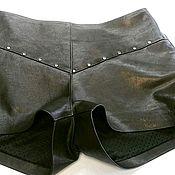 Одежда handmade. Livemaster - original item Black leather shorts. Handmade.