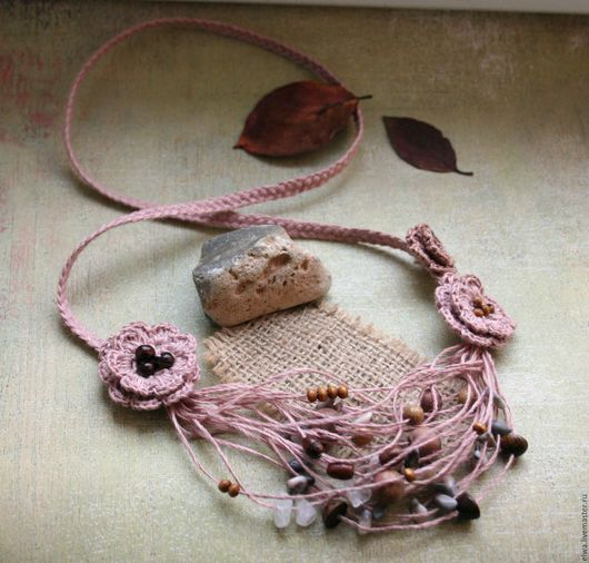 Колье, бусы ручной работы. Ярмарка Мастеров - ручная работа. Купить Бохо колье льняное Пыльная роза. Handmade.