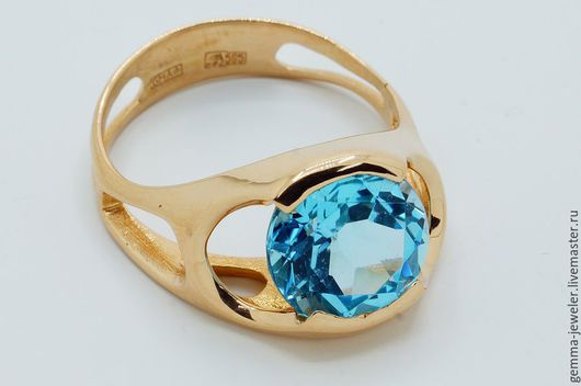 Кольца ручной работы. Ярмарка Мастеров - ручная работа. Купить Золотое кольцо Дыхание весны. Handmade. Голубой топаз