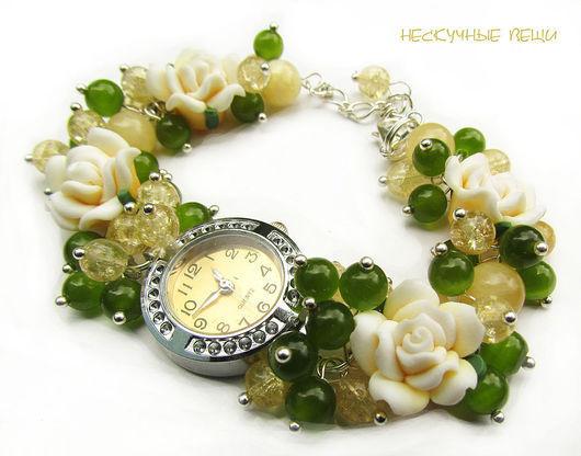 "Часы ручной работы. Ярмарка Мастеров - ручная работа. Купить Часы ""Чайная роза"". Handmade. Часы, желтые часы"
