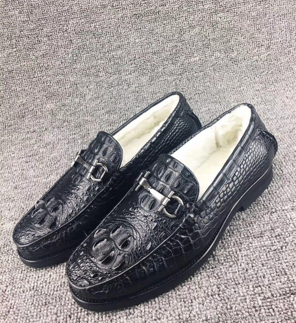 Мокасины зимние, из затылочной части кожи крокодила, в чёрном цвете, Мокасины, Тосно,  Фото №1
